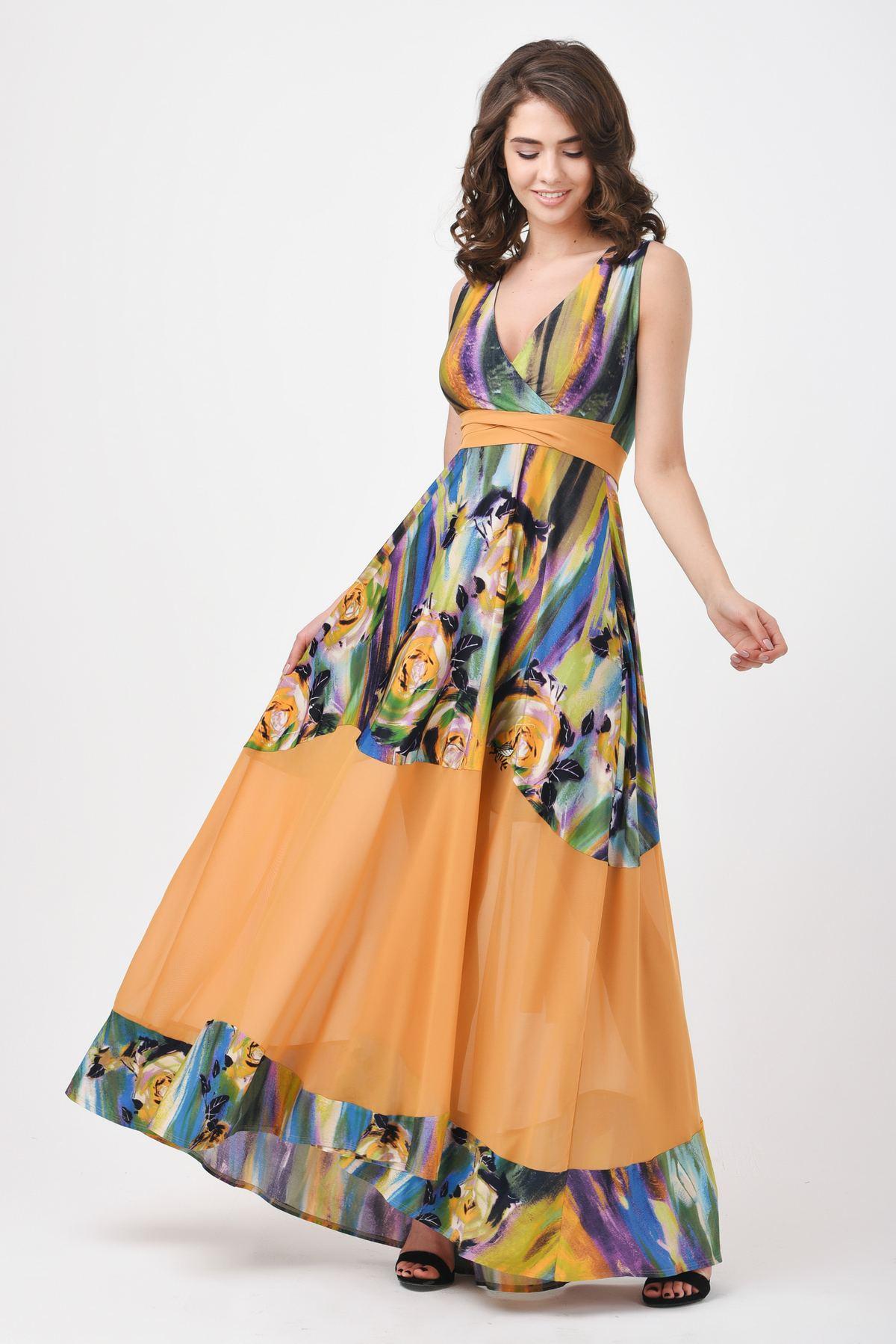 bd23565e84a Летнее платье в пол с абстрактным принтом